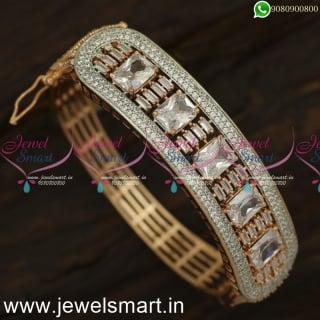 Rose Gold and Silver Diamond Bracelet Design Glowing Tubelight Stones Online B24062