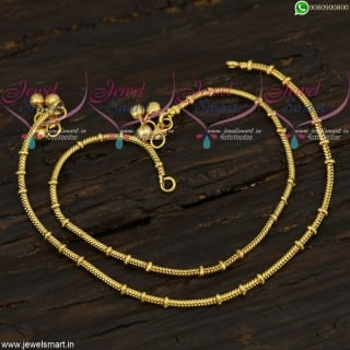 Round Chain With Beads Design Leg Chains Anklets Gold Covering Jewelry Online A21726