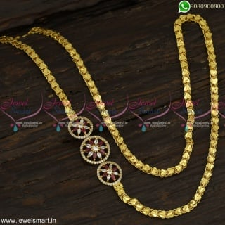 Round Stone Mugappu Design With Latest Gold Plated Chains 26 Inches Heart Pattern