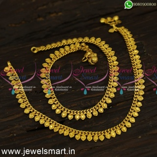 Rounded Triangle Spiral Arumbu Flexible Payal Designs Gold Plated Golusu P24163
