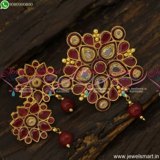 Ruby and Polki Stones Floral Gold Pendant Design Ideas For Simple OccasionPS23872