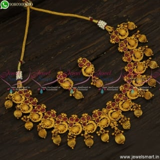 Ruby Stones Antique Fashion Jewellery Kharbuja Beads Necklace Set Online NL23769