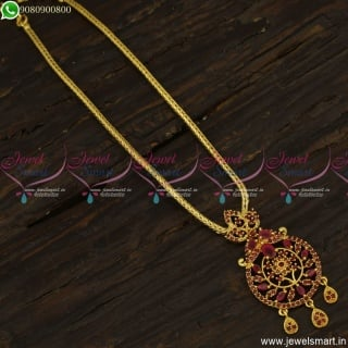 Ruby Stones Attigai Kodi Chain With Pendant Gold Covering Jewellery Online NL23556