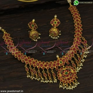 Ruby Stones Jalar Fancy Necklace Set Small Jhumka Earrings Offer Price Online NL22865