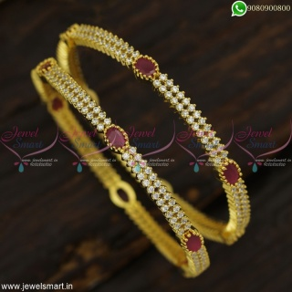 Ruby White Stone Bangles For Wedding CZ Jewellery Gold Plated Low Prices Online B23013