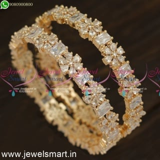 Shining Star Rose Gold and Silver CZ Diamond Bangles Design Fabulous Fashion Jewellery