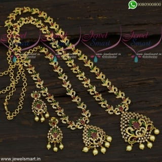 Time Saver Matching Short and Long Necklace Combo Gold Plated Jewellery Set NL21757