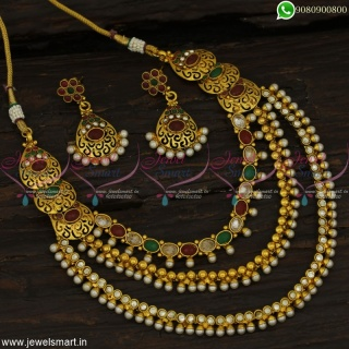 Side Pendant Layered Necklace Set Polki Stones Antique Gold Plated Jewellery NL22863
