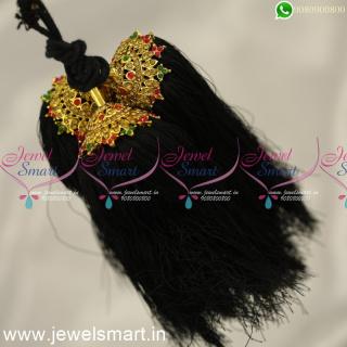 H24357 Silk Thread Jada Kunjalam for Marriage Artificial Jewelry Latest Hair Kuppulu Online