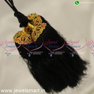 H24360 Silk Thread Jada Kunjalam for Marriage Artificial Jewelry Latest Hair Kuppulu Online