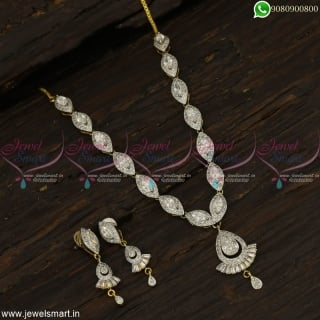Silver Finish CZ Designer Jewellery Sets Latest From Branded Catalogue Models NL22821