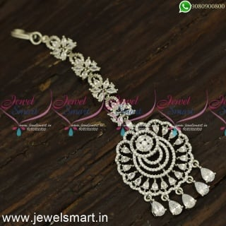 Silver Nethichutti Designs Shining Star Maang Tikka Collections Online T24155