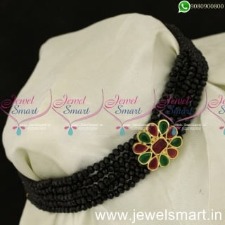 Simple Black Green and Red Beads Choker Designs New Costume JewelleryNL24050