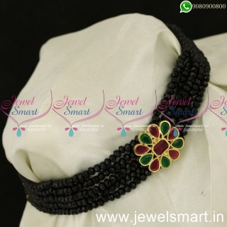 Simple Black Green and Red Beads Choker Designs New Costume Jewellery NL24050