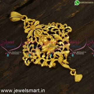 P24396 Simple Daily Wear Temple Locket Designs For Thin Gold Chains Online