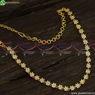Simple Design AD Stones Gold Plated Necklace Star Design Without Earrings