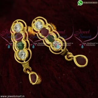 Simple Stone Ear Studs For Women in Gold Design for Daily Wear Online ER21844