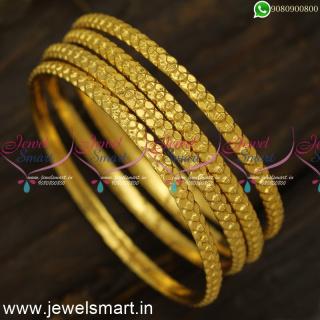 Simple Gajulu Online Set of 4 Gold Bangles Design Popular Valayal Online B24553
