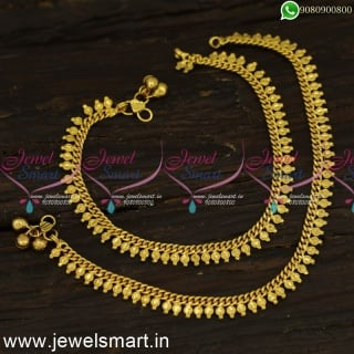 Simple Gold Anklets Design Round Arumbu Link Chain For Daily Daily Wear P24156