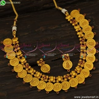 Simple Kasumalai Designs Low Price Temple Jewellery Coin Necklace Online NL23768