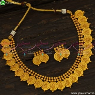 Simple Matte Look Kasumalai Designs Low Price Temple Jewellery Coin NecklaceNL23770