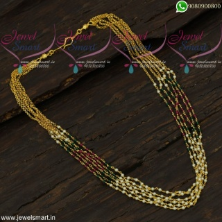 Simple Pearl Necklace With Crystal Gold Design Handmade Jewellery Online NL22025