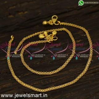 Simple Thin Light Weight Gold Chain Payal Designs Girls to Adults Covering Jewellery  P24164