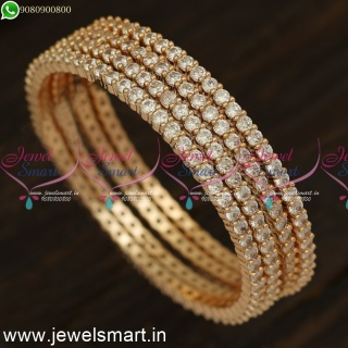 Single Line Stones Simple Diamond Bangles Designs 4 Pieces Set Rose Gold and Silver B24219