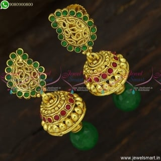 Small Beautiful Mango Jhumka Earrings Antique Jewellery Red Green Online