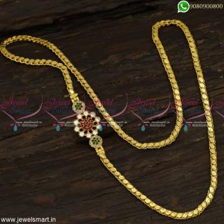 Small Gold Mugappu Design With Covering Chains American Diamond Jewellery C23362