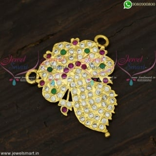 Small Ribbon Pendant for Gold Chain Stone Studded Artificial Jewellery PS22126