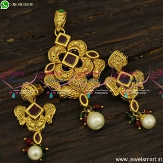 Small Ruby Gold Dollar Designs Antique Fashion Jewellery Online Shopping PS23918