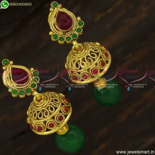 Small Unique Jhumka Earrings With Colour Crystal Drops Antique Gold Plated J23739