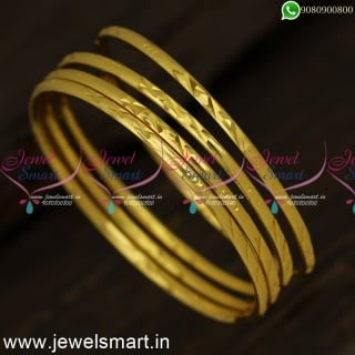 Smooth As Silk One Gram Gold Bangles Gajulu Collections Set of 4 Online B24329