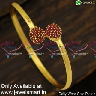 Smooth Gold Plated Bangle Bracelets Half Stone Ball Slider Design Shop Online B24001