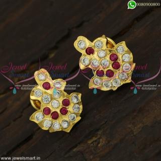 South Indian Thodu Kammal Traditional Gold Ear Studs Designs Getti Metal Jewellery