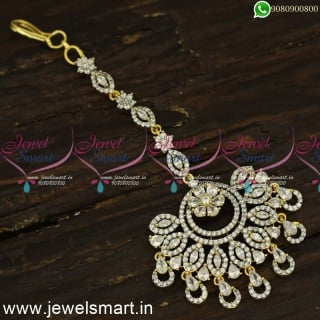 Spectacular CZ Diamond Inspired Maang Tikka For Wedding Silver and Gold Tone T24151
