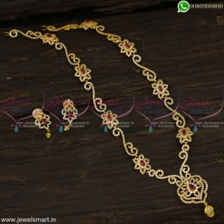 Spectacular CZ Long Necklace Set Designs Inspired from Gold Jewellery Catalogue OnlineNL22831
