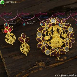 Spinel Ruby Stones Temple Gajalakshmi Gold Pendant Set Designs New Arrivals PS23873
