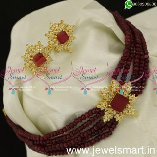 Splendid Beads Malai Beaded Crystal Choker Designs New Arrivals For WeddingNL24042