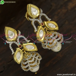 Splendid Kundan Jhumka Earrings With CZ Stones Fusion Jewellery Diamond Models J23750