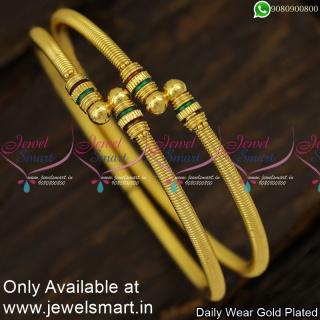 Spring Kappu Valayal Mild Enamel Plain Gold Bangles Design 2 Pieces Set B23999