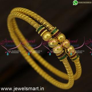 Spring Kappu Valayal With Beads One Gram Gold Bangles Kangan Model B24334