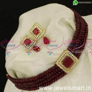 Square Locket 4 Strand Malai Crystal Choker Designs Fashionable JewelleryNL24055