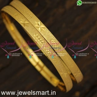 Stars and Dots Print Dull Look Gold Bangles Design Shop Online Daily Use Artificial Jewellery B24018