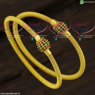 Stone Ball Kada Design Gold Plated Bangles Set New Collections B21713