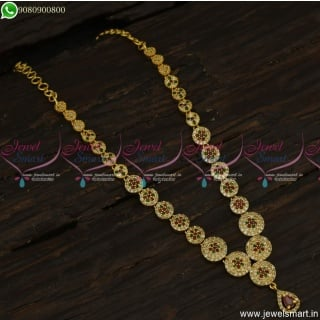 Stone Studded Trendy Gold Necklace Designs Latest South Indian Imitation NL23530