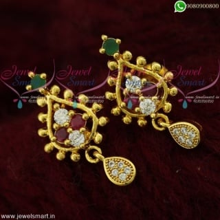 Stud Earrings For Girls and Women Screwback Jewellery South Indian FashionER21842