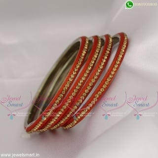 Sturdy Metal Finish Lac Bangles Silk Thread and Stone Adorned Handcrafted Jewellery