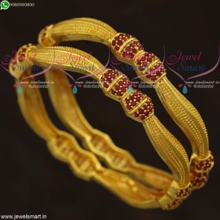 Stylish Ruby Bangles Gold Plated Set New Designs South Indian Collections